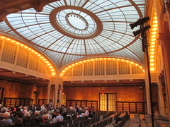 New York Public Library Auditorium - Celeste Bartos Forum 4521 (Brechtbug) Tags: celeste bartos forum auditorium glass ceiling light well courtyard new york public library 2017 nyc 42nd street next 5th avenue 04172017 april springtime spring industrial age interior steel rivot columns sculpture art lecture halls hall ave st side facade stairs front entrance bryant park