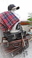 Intrepid explorer (Feathering the Nest) Tags: suitcases bust conservatory home coolbeans antiques old explorer walkingsticks maps blanket hat tartan