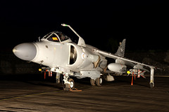 Royal Navy Sea Harrier FA2 - RAF Cosford (Andrew Edkins) Tags: seaharrier royalnavy zh796 hawker harrier jet rafcosford raf aircraft aviation night timelineevents photoshoot airframe lights geotagged canon photography tle airbase april 2017 image shropshire england attack combat military fastjet