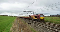 DB Cargo Class 67s_1Z18_180317_01 (DS 90008) Tags: 1z18 67008 67022 locomotive dbcargo dbschenker ews charter railway locohauled railtransport wcml daresbury train track cheshire euston heysham dieselloco dieseltraction uk