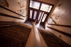Redford High School, Detroit, MI (Thomas Hawk) Tags: america detroit detroitpublicschools michigan redfordhighschool usa unitedstates unitedstatesofamerica abandoned highschool school stairs fav10