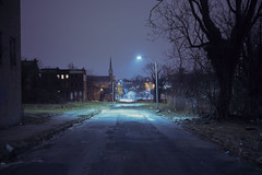 (patrickjoust) Tags: baltimore maryland road churchspire view streetlight fujicagw690 fujichromet64 6x9 medium format 120 rangefinder 90mm f35 fujinon lens fuji chrome slide e6 color reversal expired discontinued tungsten balanced film cable release tripod long exposure night after dark manual focus analog mechanical patrick joust patrickjoust md usa us united states north america estados unidos