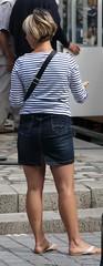 170 (SadCire) Tags: woman frau femme mujer girl thigh blonde calves feet legs miniskirt minidress skirt street candid sexy denim jeans shorthair