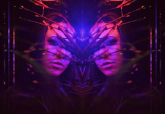 (emmakatka) Tags: glow light neon woman portrait self emmakatka minnesota minneapolis artist art eyes lights blue red symmetry surreal dreamy mirrored mirror