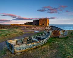 Boddin Point (burnsmeisterj) Tags: olympus omd em1 boat sunset scotland boddinpoint decay sky clouds rust limekiln