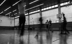 Game of basketball (Lazar Popović-Zenit) Tags: basketball sport school gym class bw