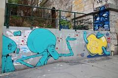 Retro + Hobz + Pangol_5171 rue des Pyrénées Paris 20 (meuh1246) Tags: streetart paris paris20 retro ruedespyrénées hobz pangol fruit pomme animaux ver