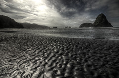 The Ripple Effect 2 (Laurie4593) Tags: beach waves sand sun clouds misty ripples rocks coast sea shore whalesheadbeach oregon southernoregon pacific ocean coastline westcoast rugged sky beautiful silhouette water canonrebelt3i canonefs1018mm hdr moody reflection spring