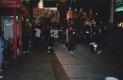 Street Dancers (joeclin) Tags: northamerica unitedstates newyork usa ny night manhattan outdoor color streetview amatuer timessquare nyc streetperformer theatredistrict perspective people