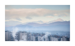 Reaching For The Clouds (icypics) Tags: buildings landscape ljubljana urban cloud hotel layering mist morning moutain slovenia smoke