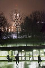 Misty night, Métro Université de Montréal (Jacques Lebleu) Tags: udem université montréal métro tour ernestcormier bruine brume mist drizzle night tree fluorescent montroyal students tower architecture outremont