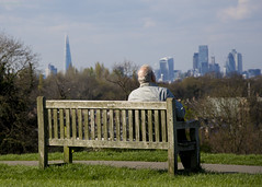 View over The City.  Blythe Hill Fields, Honor Oak Park, London (MJ Reilly) Tags: blythehill brockley lewisham croftonpark nikon d7200 nikond7200 bench man seat pensioner honoroakpark london southeastlondon southlondon blythehillfields blythe spring sunshine view londonskyline viewpoint