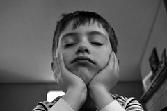 Bored (triciaamore) Tags: 365project project365 emmett sleepy bored sick boy child kid son smushy face portrait young youth blackandwhite monochromatic monochrome