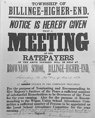 Notice of Ratepayers' meeting at Brownlow School, Billinge 24 March 1883 (The Makerfield Rambler) Tags: billinge
