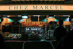 IMG_4350 copy (n0tmichelle) Tags: europe france paris travel streetphotography street architecture buildings night nightphotography light dark colors saturation vibrant perspective sky blue symmetry food market fruits