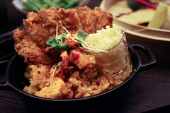 Kimchi Fried Rice (leadin2) Tags: canon 35mm ef f14l usm 2017 dinner meal singapore canonef35mmf14lusm delicacy kimchi fried rice tempura crumbs pork katsu