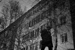 loneliness (alexeyborzov) Tags: people black building white water window house photograph architecture silhouette monochrome reflection man sky trees tree street spring