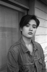 Levi's (kageaki.s) Tags: canonet canonetql17 film kodak 35mm 400tx tokyo portrait denim jacket japan light shadow woman girl blackandwhite monochrome outdoors