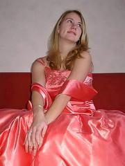 Happy girly girl (Paula Satijn) Tags: girl young lady blond blonde orange satin silk dress gown ballgown shiny skirt beauty gorgeous elegance feminine girly pretty class cute sweet glamour glamorous