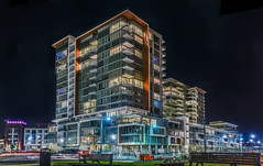 soldout arden by bosa (pbo31) Tags: pbo31 boury 2017 spring color california april d810 nikon bayarea panorama stitched large panoramic sanfrancisco city urban missionbay arden bosa night black condo apartment contemporary architecture soldout lightstream traffic bench park