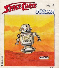 BOOMER / Space Chase 4 (micky the pixel) Tags: ephemera einwickelpapier wrappingpaper papierdemballage vignettes chewinggum kaugummi bubblegum kaugummibilder comic sf scifi sciencefiction consa boomer spacechase andro roboter robot