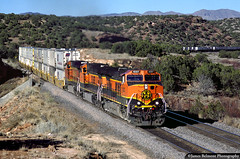 Goatboats in the Land of Enchantment (jamesbelmont) Tags: bnsf railroad train locomotive c449w ge kayser nm canyon abo containers trailers