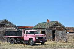 Pepto Bismal 1960 (RootsRunDeep) Tags: train old weathered motel bosler wyoming 1960 chevy truck abandoned decay ruin rust happytruckthursday htt