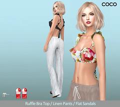 COCO_@Uber_April.25th (cocoro Lemon) Tags: coco newrelease ruffle bratop linen pants flatsandals uber mesh secondlife fashion slink maitreya