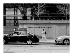 160505_0559_160505 184043_oly_S1_toronto (A Is To B As B Is To C) Tags: aistobasbistoc canada toronto ontario ca roadtrip travel olympus stylus1s bw torontodominioncentre ludwigmiesvanderrohe miesvanderrohe architect architecture taxi car walking woman street