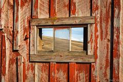Window on The Palouse (David Recht) Tags: palouse rosalia washington unitedstates window barn red color sunset