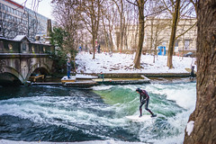 Whatever the Weather (bailes.joseph) Tags: surf surfing winter snow munich münchen bavaria eisbach english garden wetsuit europe travel cold
