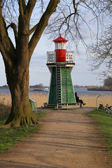 A Little Lighthouse - close range (Vonstroepp Photo) Tags: lighthouse river coastline landscape historic historical suderelbe water germany old tourist vacation nautical picturesque sea german north tower ship maritime inlet travel elbe landmark history nature seascape coast europe marine tourism