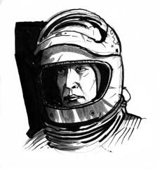John Koenig -Space 1999 (simeon genew) Tags: space1999 astronaut landau koenig grayscale sketch sketchbook brushpen space helmet