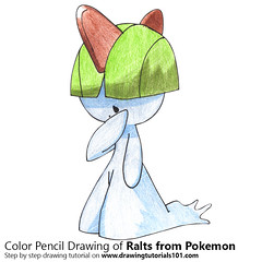 Ralts from Pokemon with Color Pencils [Time Lapse] (drawingtutorials101.com) Tags: pokemon ralts anime manga sketch sketches sketching pencil draw drawing drawings color coloring how timelapse video speed