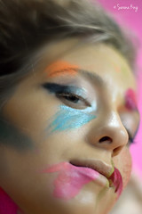 Makeup Model Closeup (design.king73) Tags: lighting pink blue woman black beautiful beauty face fashion closeup lady youth vintage pose hair studio lights model glamour pretty veil bright modeling body gorgeous young makeup posing lookingup fashionshow glamorous facejewelry brickbackdrop