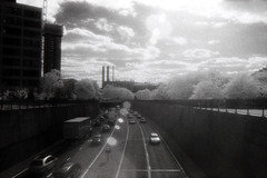 Inner Ring Road (Saturated Imagery) Tags: urban blackandwhite film 35mm ir motorway iso400 leeds infrared kodakhie ringroad prakticatl5b