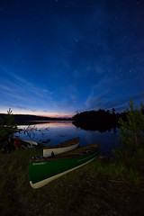 193/365: Camping on Evelyn Lake. (Gregory Pleau) Tags: trip camping vacation lake reflection water landscape star twilight glow geocaching evelyn dusk canoe bfl starscape temagami