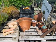 Broken pots ... (wallygrom) Tags: england westsussex planters recycle recycling angmering brokenpots manornursery
