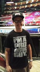 Christopher Logan at Smackdown, showing he's a Pro Wrestling Guy