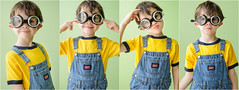 AubreyMinionQuadtych (labrossephotography) Tags: boy funnyface silly cute green goofy childhood yellow fun costume crazy child play availablelight joy goggles adorable son overalls nutty quadtych goofingaround 6yearold minion 6yo ringt imaginativeplay despicableme