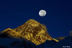 Everest Moon (AvijitNandy) Tags: moon mountain trek canon mark iii bluesky 5d everest ebc canon70200f28