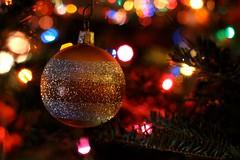 Merry Christmas 2013 (Read2me) Tags: christmas ornament ball round decoration gold glitter tree lights bokeh dof pregamewinnersweep pregameduelwinner thechallengefactory herowinner superherochallengewinner challengeyouwinner challengeclubwinner gamewinner agcgwinner friendlychallenges gamex2 x2 storybookotrwinner perpetualchallengewinner