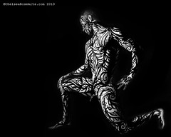 Man (lucidRose) Tags: blackandwhite man male art photography tribal bodypainting conceptual portlandoregon bodyart primal chelsearose lucidrose chelsearosearts