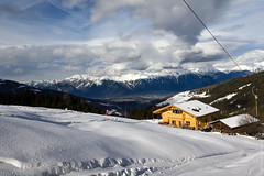 Serles (kirill3.14) Tags: trees winter sky cloud house snow forest austria cafe skiing valley peaks stubai slopes lifts mieders