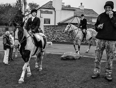 Facial expressions at the East Cornwall Hunt, England (sophie_merlo) Tags: street blackandwhite bw horse black blancoynegro monochrome sport rural countryside noir noiretblanc candid hunting streetphotography documentary social bn class hunt foxhunting