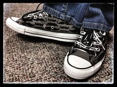 'Stache Kicks - Las Vegas, NV (tossmeanote) Tags: las vegas white grey shoes gray nv converse kicks stache mustache iphone 201