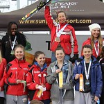 Sun Peaks Teck U14 Provincials - Girls' Podium, plus Nancy Greene Raine PHOTO CREDIT: Sarah Renzoni