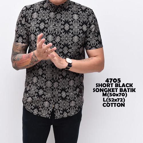4705 Short Black Songket Batik M-L