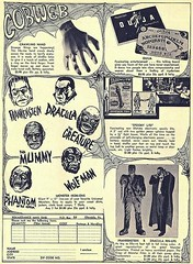 Cobweb Advertisement (kevin63) Tags: lightner picture photo old vintagecheese facebook mask poster monster dracula wolfman frankenstein mummy phantom creature blacklagoon ouijaboard page fan magazine sixties 60s 70s seventies coupon orderform crawlinghand noveltie