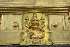 Gold coloured goddess embossing (VinayakH) Tags: kanchipuram india tamilnadu temple sculptures historic religious hindu shiva varadharajaperumaltemple varadharajaperumal vijayanagaraempire